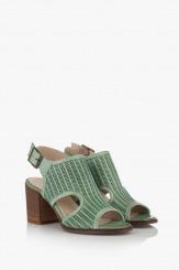 Зелени дамски перфорирани сандали Ейприл