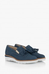 Сини дамски обувки с аксесоар Аглая