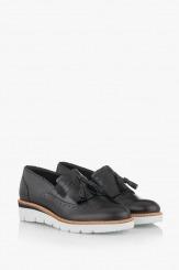 Черни дамски обувки с пискюл Аглая