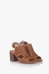 Дамски кожени сандали Ейприл карамел