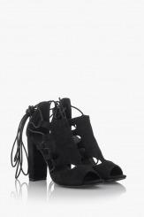 Дамски сандали на висок ток в черно Кики