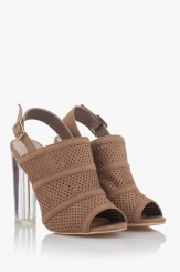 Дамски сандали на висок ток Катлин таупе