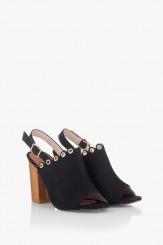 Черни дамски сандали на ток Марсела