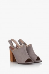 Дамски сандали на ток в сиво Марсела