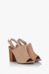 Бежови дамски сандали на ток Марсела