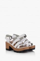 Бели дамски сандали Ирене на платформа