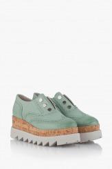 Зелени дамски обувки на платформа Алисан