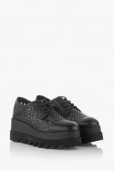 Дамски обувки с перфорация в черно Алисан