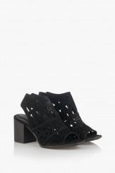 Черни дамски велурени сандали Бранди