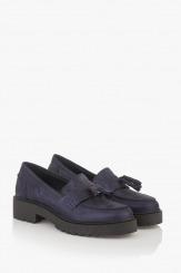 Дамски кожени обувки с аксесоар в синьо Мона