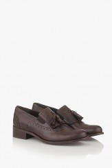 Дамски кожени обувки с аксесоар в кафяво Александриа