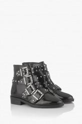 Черни дамски боти с метални аксесоари Джое