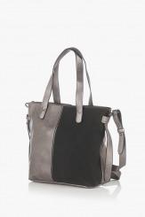 Дамска чанта в сиво и черно Анис
