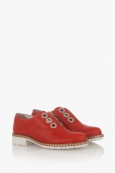 Червени дамски обувки с перфорация Кая