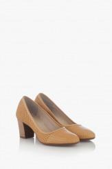 Бежови дамски обувки на ток Одри