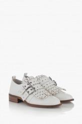 Бели дамски обувки с ресни Сандра