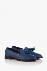 Сини дамски обувки с щампа Карла