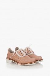 Перфорирани дамски обувки Евелин цвят пудра