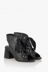 Кожени дамски сандали с връзки Рейн