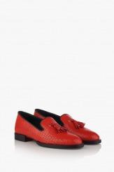Кожени дамски обувки в червено Карла