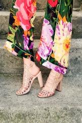 Дамски сандали на висок ток Клое в бежов цвят