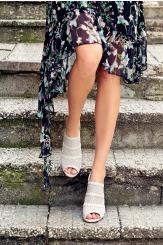 Сиви дамски сандали на висок ток Катлин