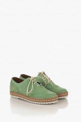 Зелени велурени дамски обувки Анабел
