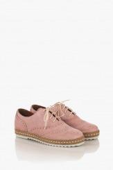 Розови велурени дамски обувки Анабел
