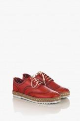 Червени дамски обувки с връзки Анабел