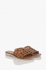 Кожени дамски чехли цвят карамел Алана