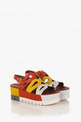 Цветни дамски сандали на пларформа Клеър