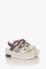 Дамски цветни сандали от лак Клеър