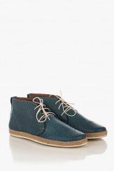 Сини кожени мъжки обувки с перфорация Джаймс