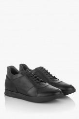 Черни мъжки кожени обувки с връзки Крисчън
