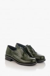 Зелени дамски обувки от естествен лак Барбара