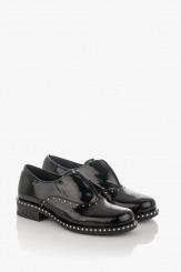 Черни дамски класически обувки от естествен лак Барбара
