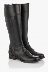 Черни дамски ботуши от кожа Лорена
