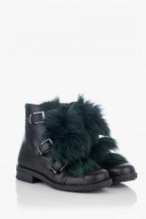 Черни дамски кожени боти със зелен пух Мартина