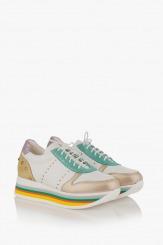 Дамски кожени спортни обувки с цветно ходило Марлен