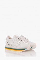Бели дамски кожени спортни обувки Марлен