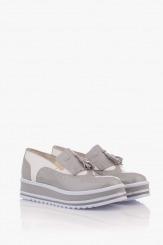 Сиви дамски обувки на платформа Бианко