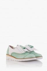 Кожени дамски обувки с аксесоар в зелено Агнеса