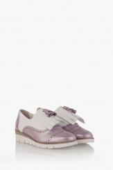 Кожени дамски обувки в лилаво с аксесоар Агнеса
