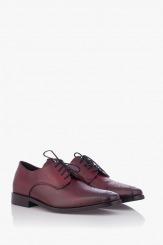 Кожени мъжки обувки Грийн цвят бордо