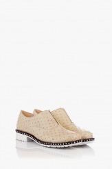 Бежови дамски обувки от естествен лак Лея