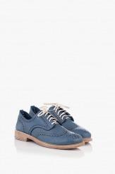 Сини дамски кожени обувки с перфорация Мина