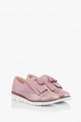 Дамски кожени обувки Агнеса цвят пудра