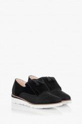 Велурени дамски обувки в черно Агнеса