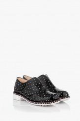 Черни дамски лачени обувки Лея