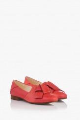 Коралови дамски кожени обувки с аксесоар Росабелла